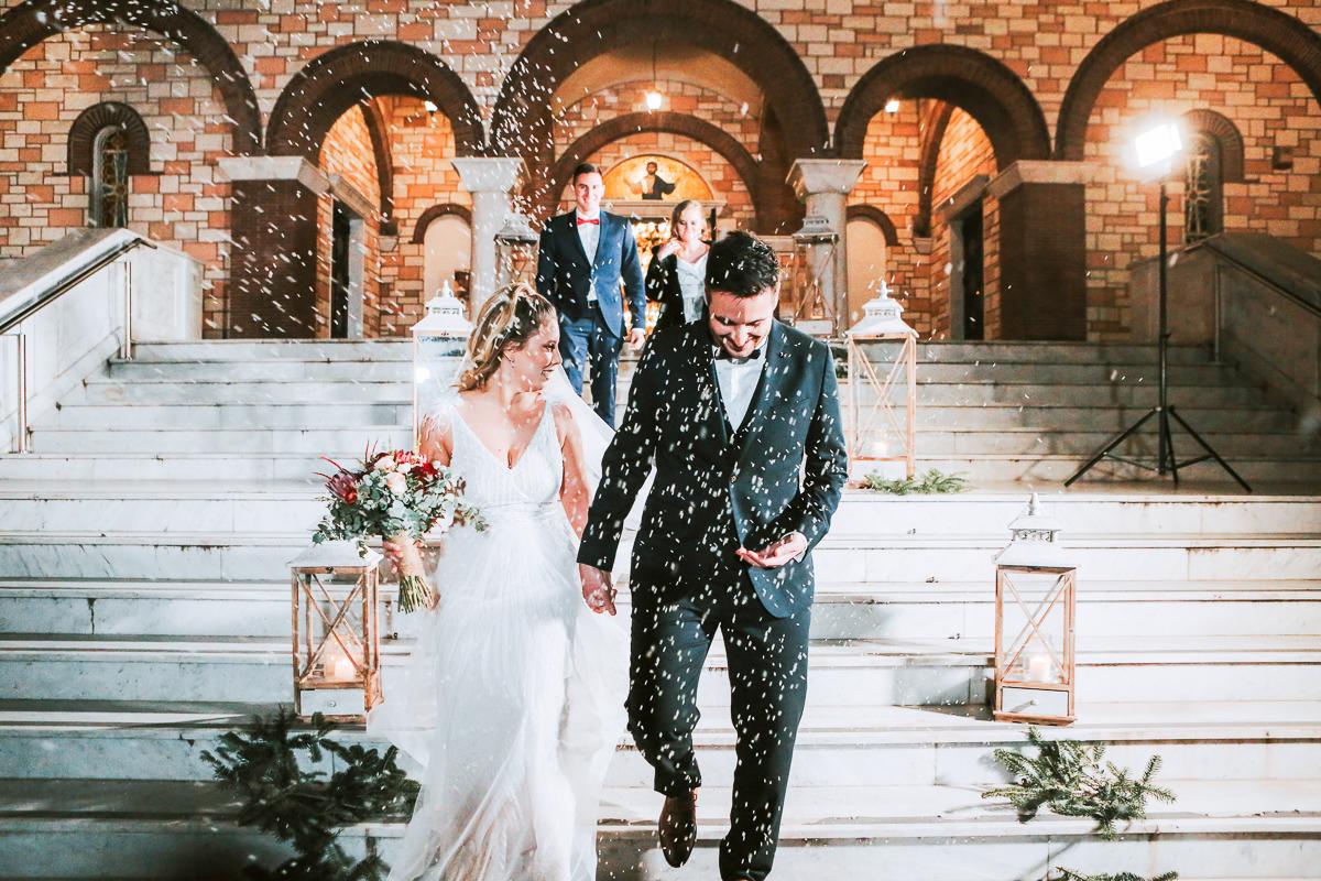 Χριστουγεννιάτικος Γάμος σε μπορντώ, χρυσές και πράσινες αποχρώσεις | Αλέξιος & Χρυσή